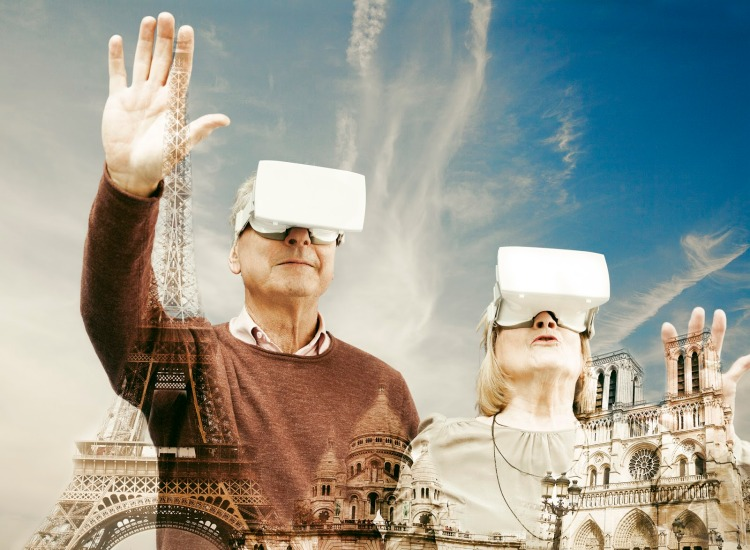 Senior couple with virtual reality headsets and Paris famous landmarks.
